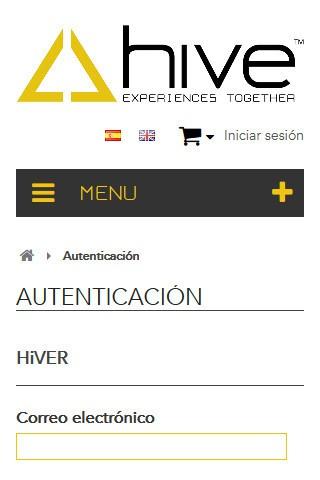hiveclothing.com (móvil) - Autenticación