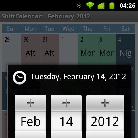 ShiftCalendar - Selector de fecha